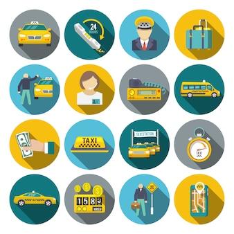 Conjunto plano de iconos de taxi