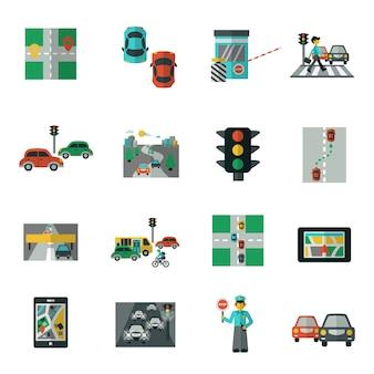 Conjunto plano de iconos de tráfico