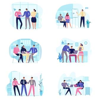 Conjunto plano de iconos con varias escenas de reuniones de negocios aisladas en blanco