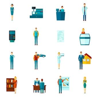Conjunto plano de iconos de vendedor