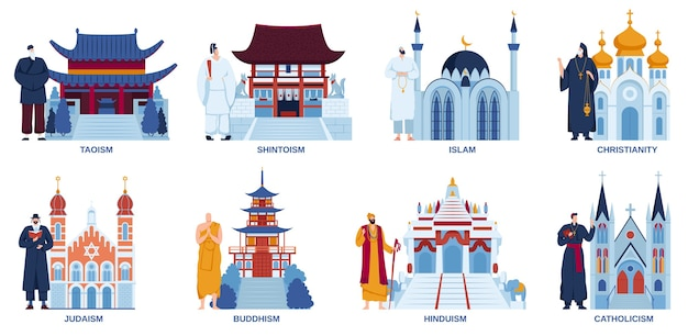 Conjunto plano de ilustración de vector de mezquita de iglesia de templo de religión, arquitectura de lugares de adoración religiosa de dibujos animados
