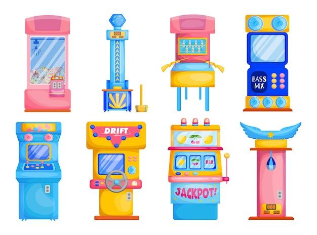 Conjunto plano de máquinas de juego de colores