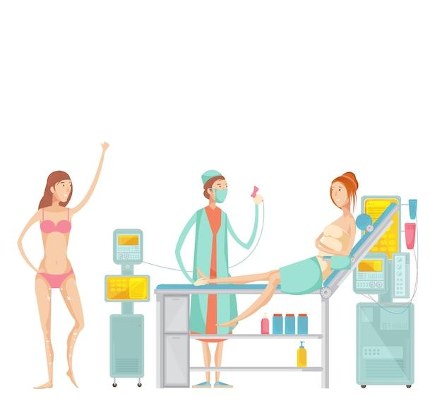 Conjunto plano con la mujer antes y después de la depilación en el salón de belleza spa aislado sobre fondo blanco