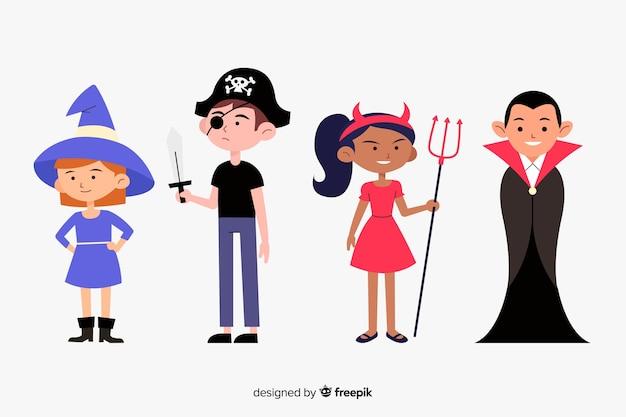 Conjunto plano de niño de halloween