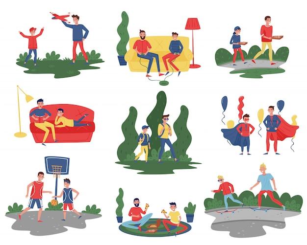 Conjunto plano de padres con hijos en diferentes acciones. los papás pasan tiempo con sus hijos en casa y al aire libre. tema de la paternidad