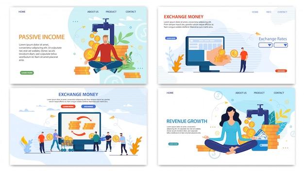 Conjunto plano de página de destino de servicios financieros en línea