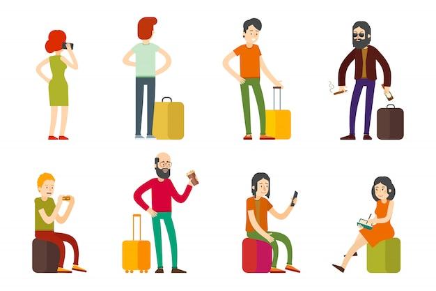 Conjunto plano de pasajeros coloridos