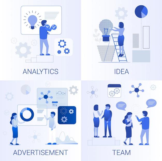 Conjunto plano de pasos para el crecimiento del negocio de teambuilding