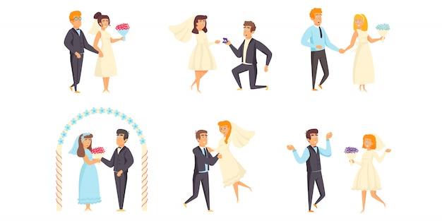 Conjunto plano de personajes de boda