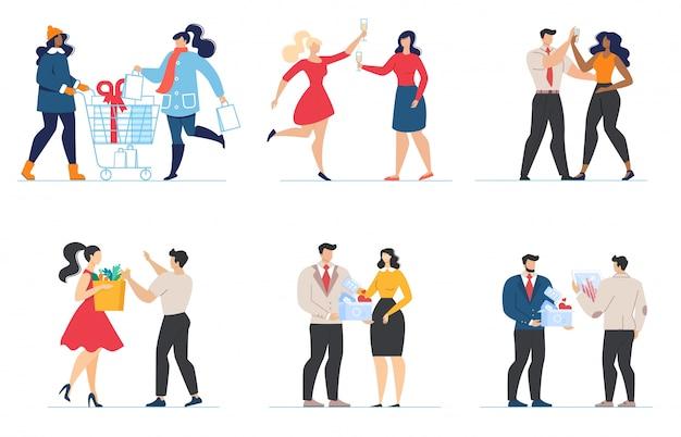 Conjunto plano de personajes de dibujos animados parejas y amigos