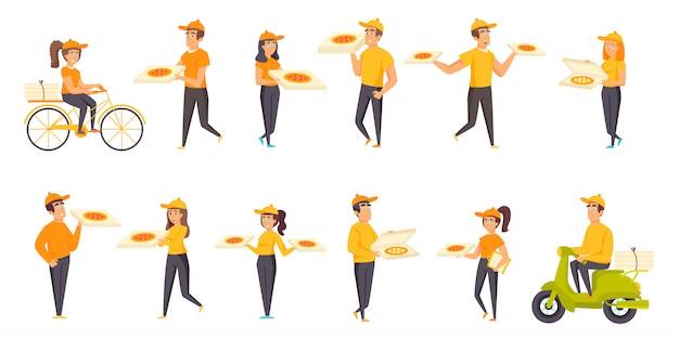 Conjunto plano de personajes de entrega de pizza