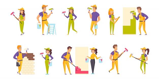 Conjunto plano de personajes de pintores de casas