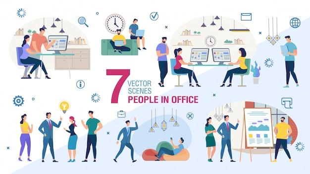 Conjunto plano de personajes de trabajadores de oficina de negocios