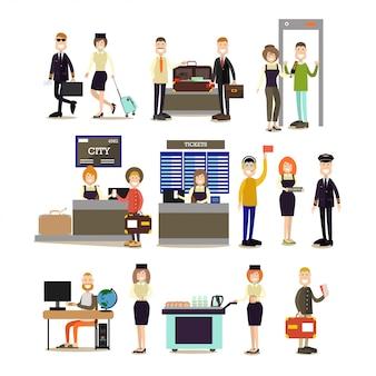 Conjunto plano de personas de aeropuerto