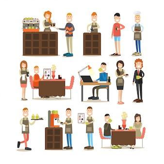 Conjunto plano de personas de cafetería