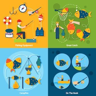 Conjunto plano de pesca