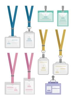 Conjunto plano de plantillas de titulares de tarjetas de identificación. insignias de identificación de empleados con correas para el cuello y clips metálicos.
