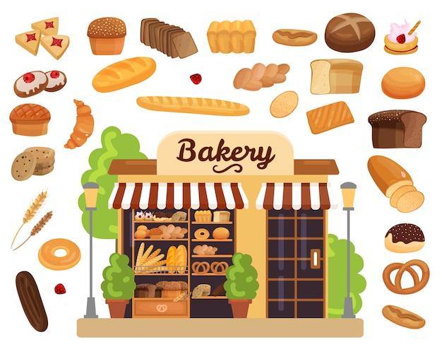 Conjunto plano de productos de panadería