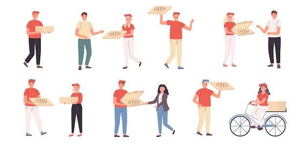 Conjunto plano de repartidores de pizza y clientes