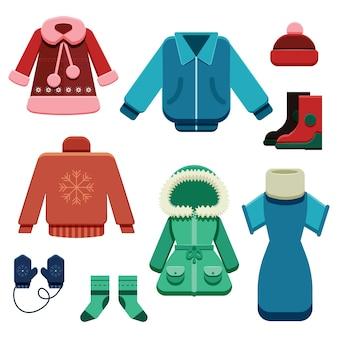 Conjunto plano de ropa de invierno y elementos esenciales
