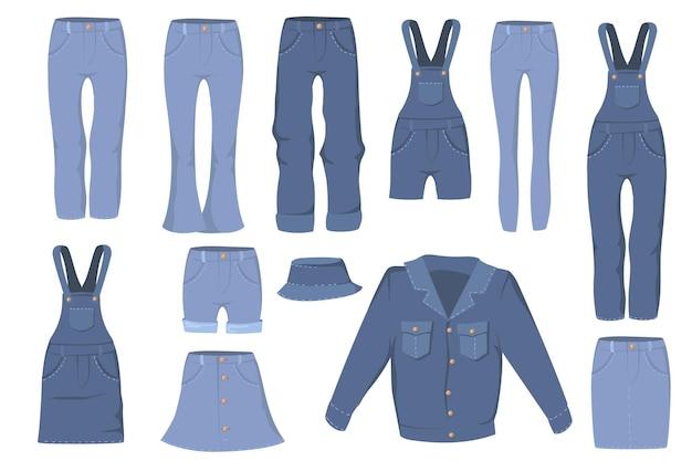 Conjunto plano de ropa de mezclilla de moda