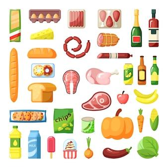 Conjunto plano de surtido de alimentos de supermercado diario. ingredientes alimenticios. productos comestibles. tienda de comestibles. productos cárnicos, lácteos y horneados. iconos detallados de frutas, verduras y bebidas