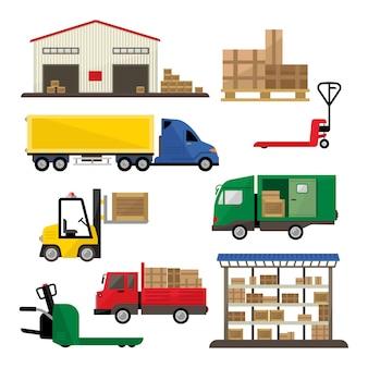 Conjunto plano de transporte y entrega de almacén