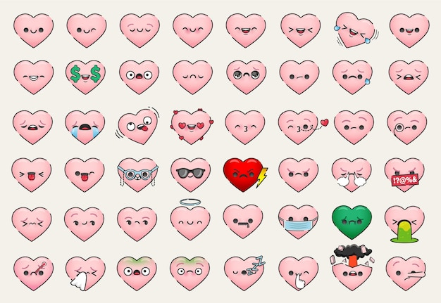 Conjunto plano de varias caras de corazón emoji