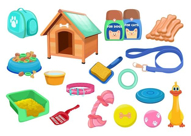 Conjunto plano de varios accesorios de moda para perros y gatos.