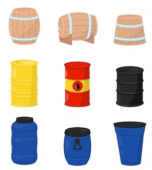 Conjunto plano de varios barriles. contenedores de madera para cerveza o vino, tanques de agua plásticos, bidones metálicos con petróleo crudo.