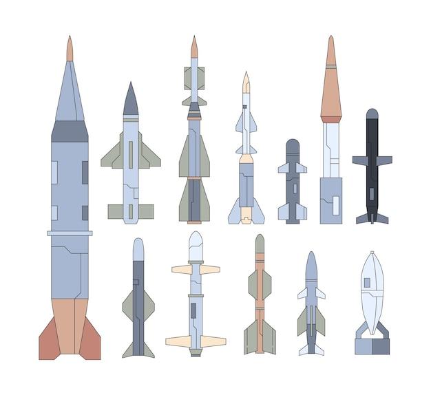 Conjunto de planos de armas voladoras guiadas por el ejército. colección de misiles nucleares. apuntar a ojivas, cohetes atómicos. paquete de munición de obús de guerra.