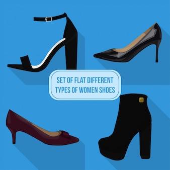 Conjunto de planos diferentes tipos de iconos de zapatos de mujer