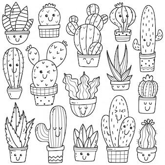 Conjunto de planta de cactus en kawaii doodle
