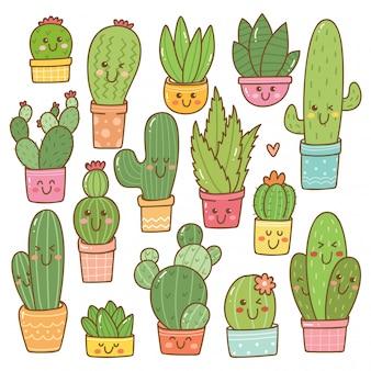 Conjunto de planta de cactus en kawaii