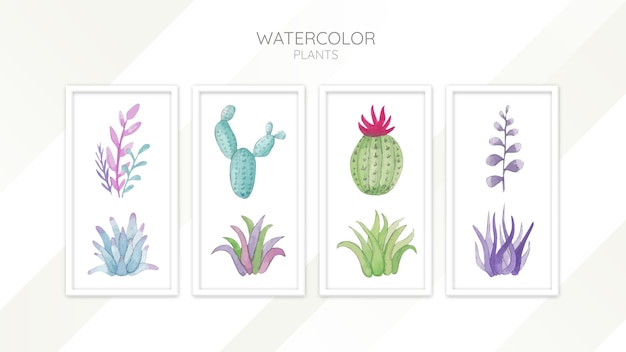 Conjunto de plantas de acuarela