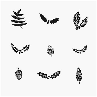 Conjunto de plantas de invierno y elementos botánicos. lindas ilustraciones dibujadas a mano, aislado simple en blanco y negro