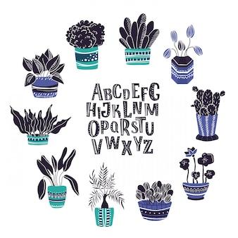 Conjunto de plantas en maceta casa, alfabeto escrito a mano