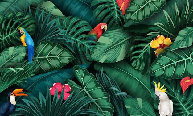 Conjunto de plantas tropicales y colección de aves.