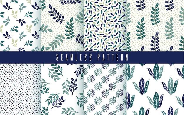 Conjunto de plantas verdes de patrones sin fisuras. naturaleza ornamento floral simple.