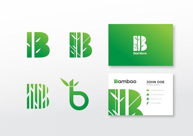 Conjunto de plantilla de bambú logo con tarjeta de visita