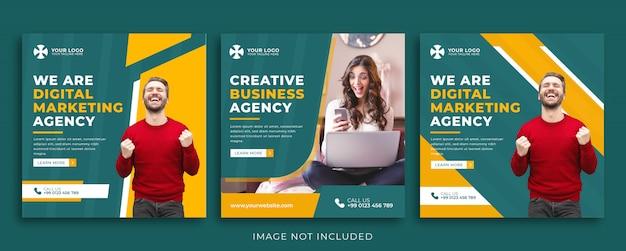 Conjunto de plantilla de banner de agencia de marketing para redes sociales