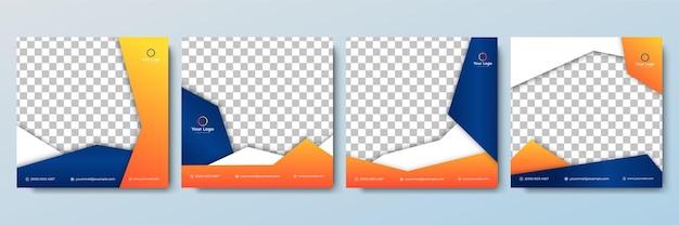 Conjunto de plantilla de banner cuadrado editable color de fondo minimalista con forma de línea de rayas