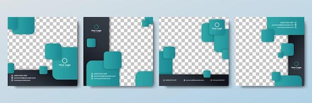 Conjunto de plantilla de banner cuadrado mínimo editable. color de fondo verde y negro con forma geométrica. adecuado para publicaciones en redes sociales y anuncios web en internet. ilustración de vector con universidad de fotografía