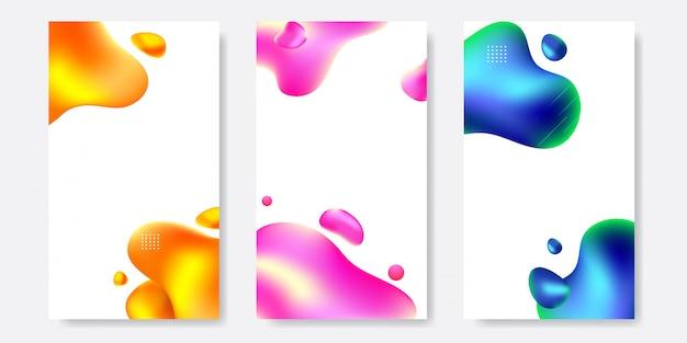 Conjunto de plantilla de banner líquido abstracto