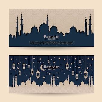 Conjunto de plantilla de banner ramadhan