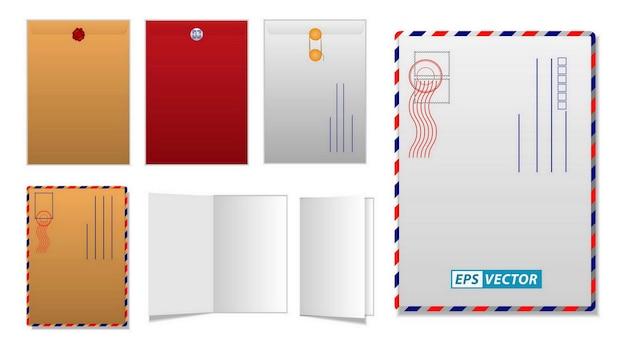 Conjunto de plantilla en blanco de sobre grande o correo comercial postal con sello de goma o plantilla realista