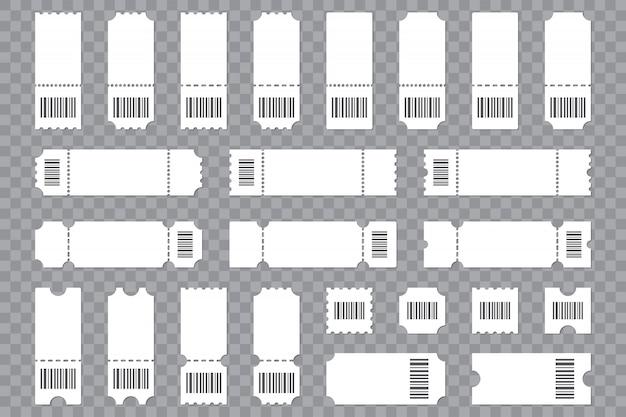 Conjunto de plantilla de boleto en blanco con código de barras en un fondo transparente