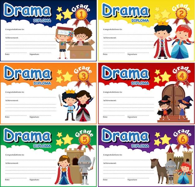 Conjunto de plantilla de certificado de diploma de drama