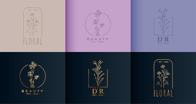 Conjunto de plantilla de concepto de logotipo floral flor