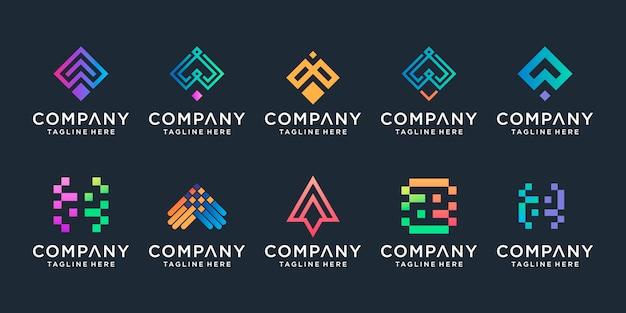 Conjunto de plantilla creativa flecha y letra a. iconos para negocios de lujo, elegantes, simples.
